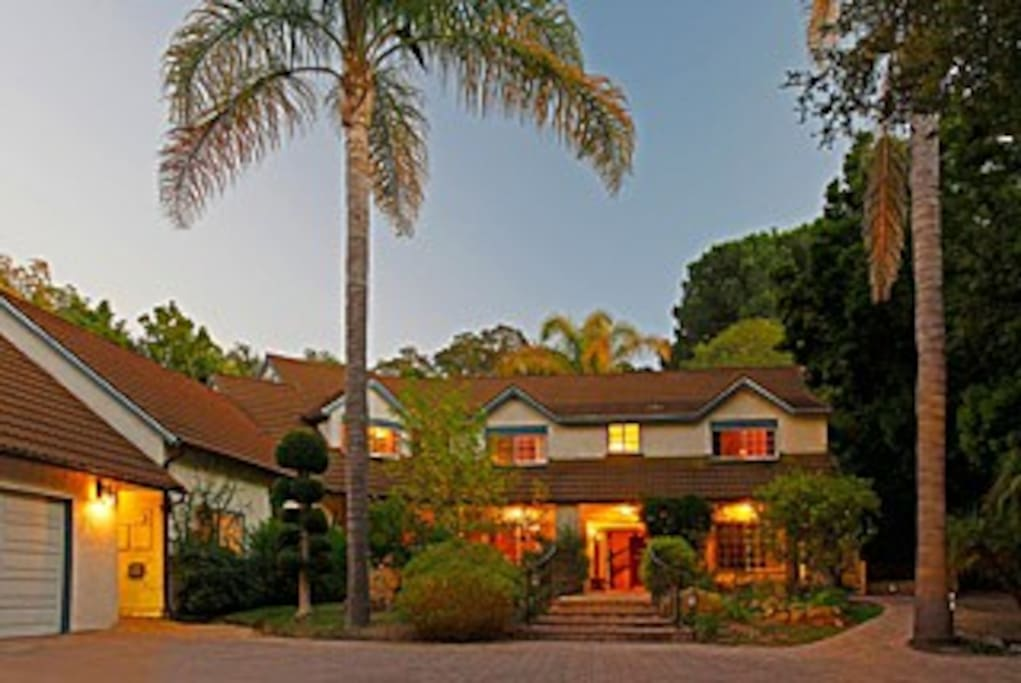 Front of the Sycamore Canyon Estate at Sunset