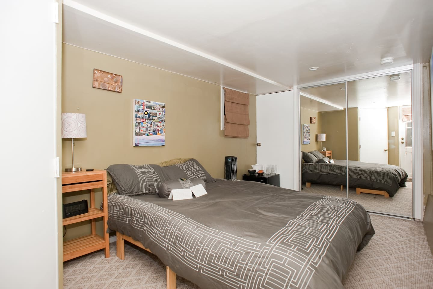 Please check out the next photo because it reflects the improvements we've made to the room. The futon is gone and a super comfortable full size mattress has taken its place along with a lot of other items you'll see in the next photo.A cozy hideaway, nic