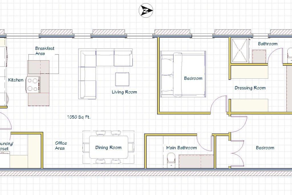 Floorplan.  1000+ sq Ft.