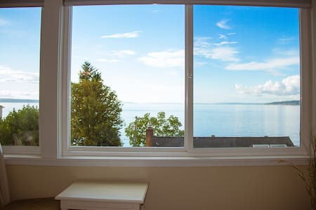Amazing water views from this private cottage located in the North Beach neighborhood of Seattle. Why settle for a room shared situation when you can have your own private space and million dollar water views.