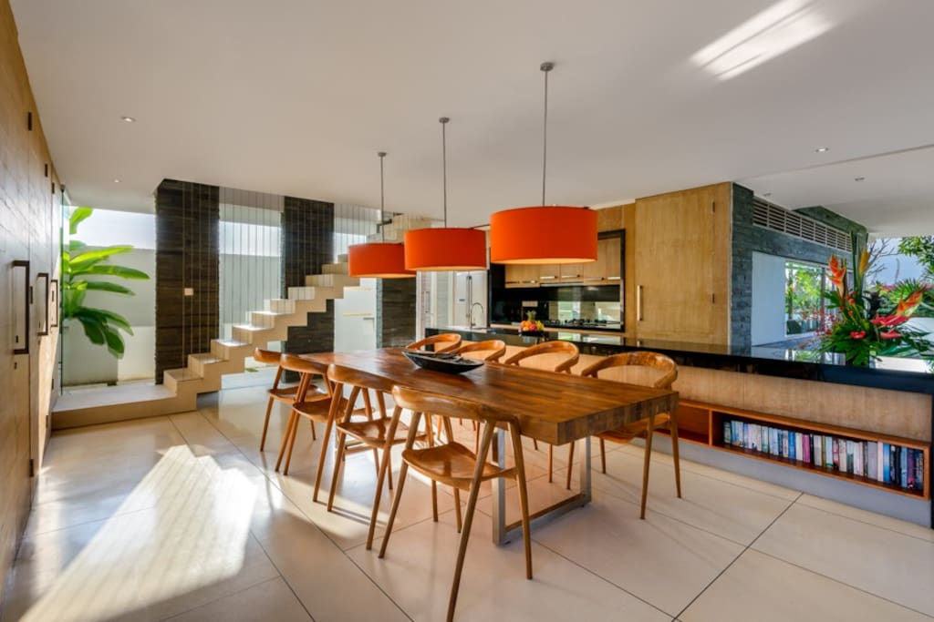 The gorgeous, spacious dining and kitchen area is perfect for entertaining family and friends.