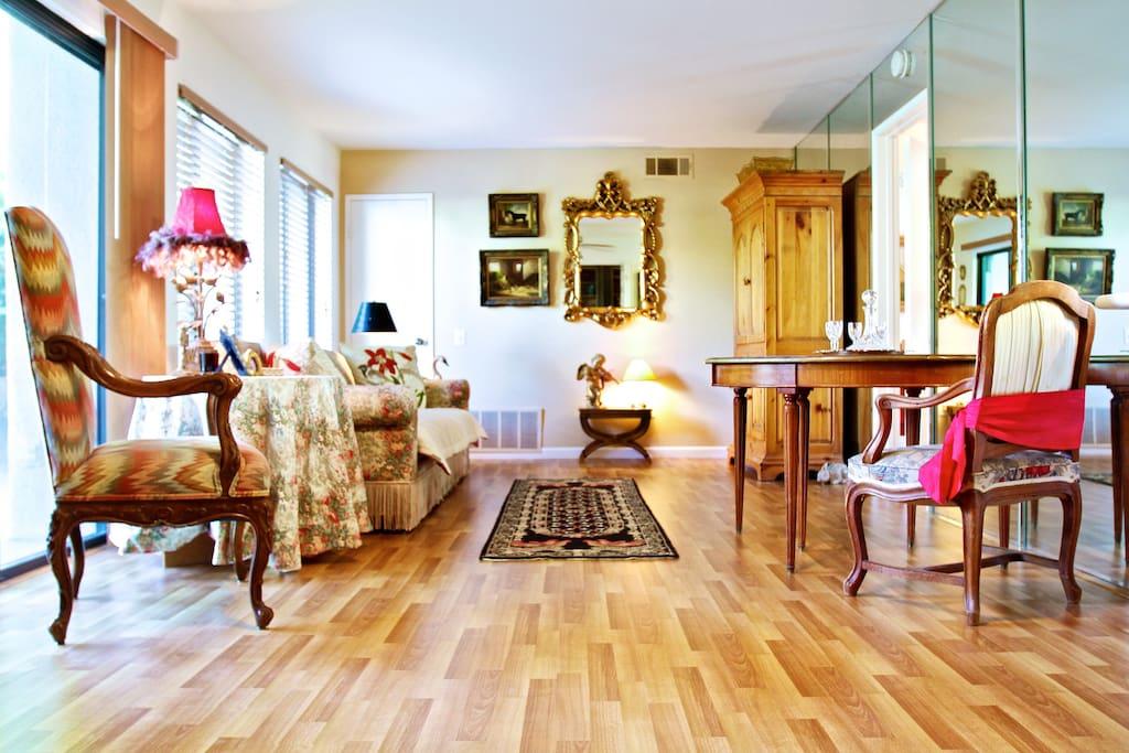 Brand new hard wood floors and designer furniture