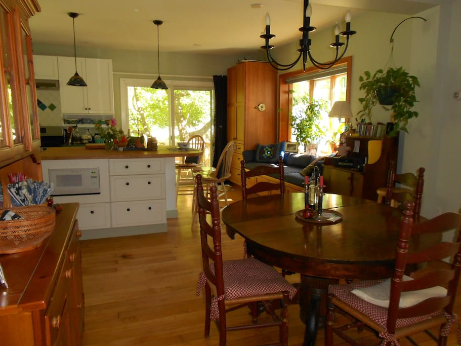 I serve breakfast in this light, airy kitchen where I enjoy learning about my guests.