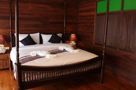 Wooden style thai decor bedroom