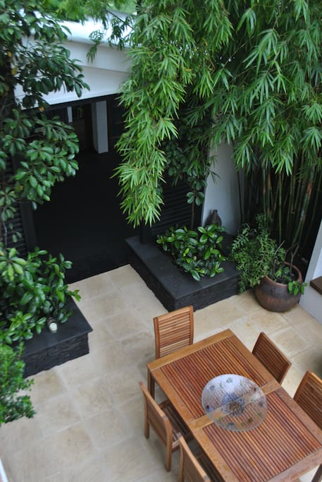 calming area with waterfall