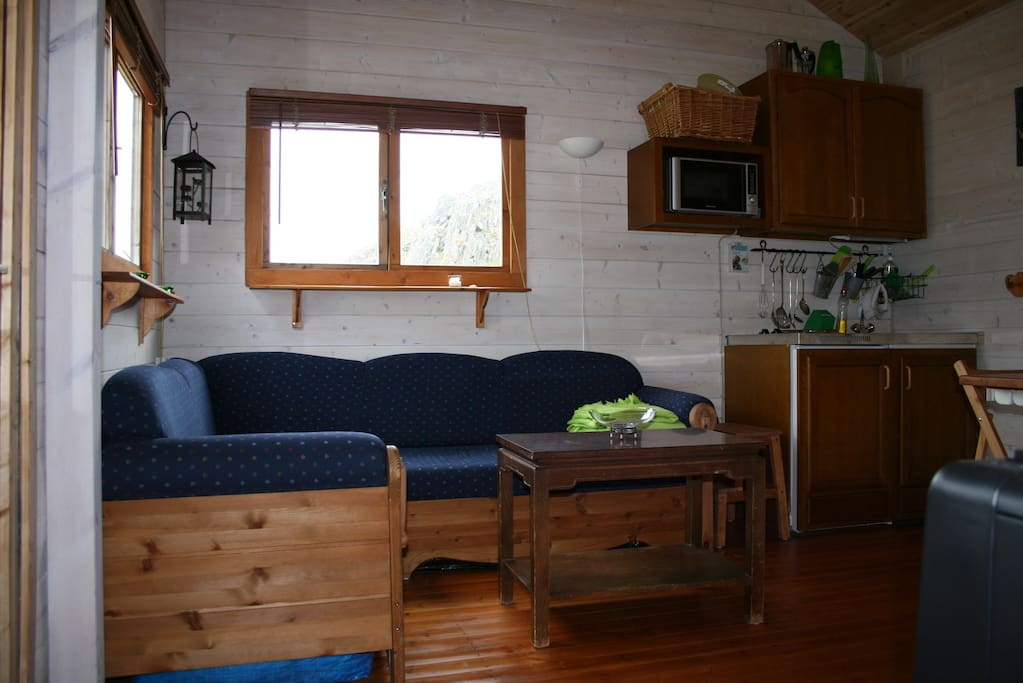 Livingroom with sofabed and kitchenette