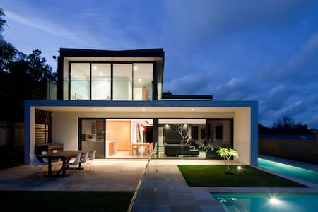 Unique modern family home with pool