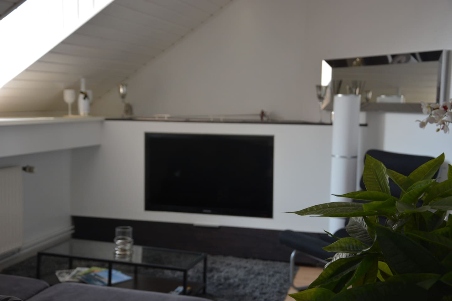 Living room with build in TV