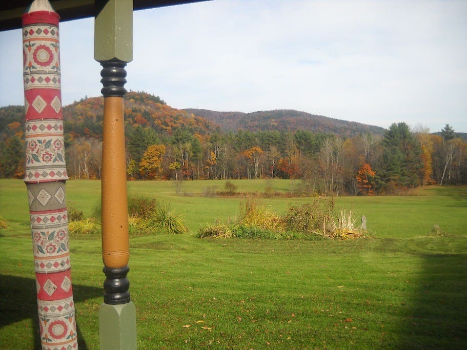 Fall Foliage across the fields as seen from the porch at Royalton Bed and Breakfast