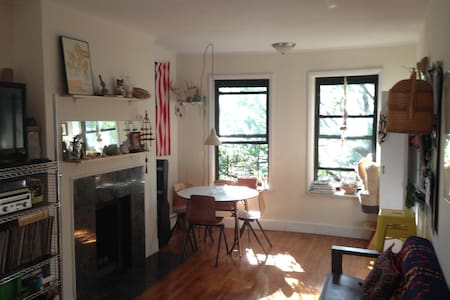 Historic and beautiful Cobble Hill 2 bedroom 2 full bath apartment. Master suite has private bathroom, 2nd room is outfitted for a toddler, air mattress and travel crib available. Rooms located in rear for easy sleeping and it's a 2nd story walk up.