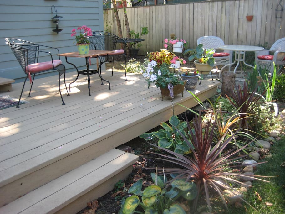 Deck right outside of kitchen.  Have your coffee or tea and even breakfast out there