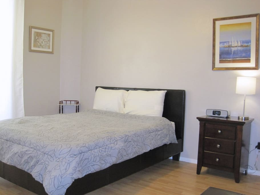 Private Bedroom with comfortable Queen size bed and walk in closet