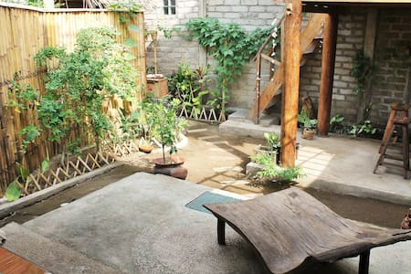 Bamboo home with garden and gazebo