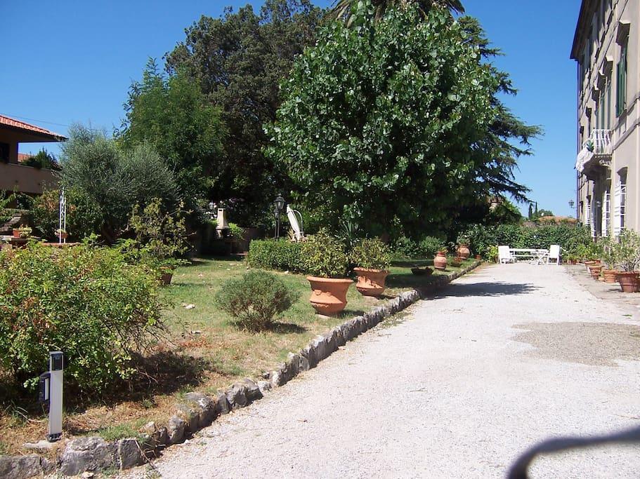 il giardino col viale d'accesso privato