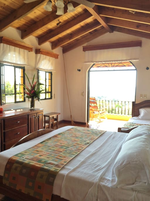 The sunset suite offers it's own private balcony and private bathroom.