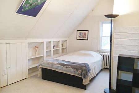 bright, attic room, walk everywhere