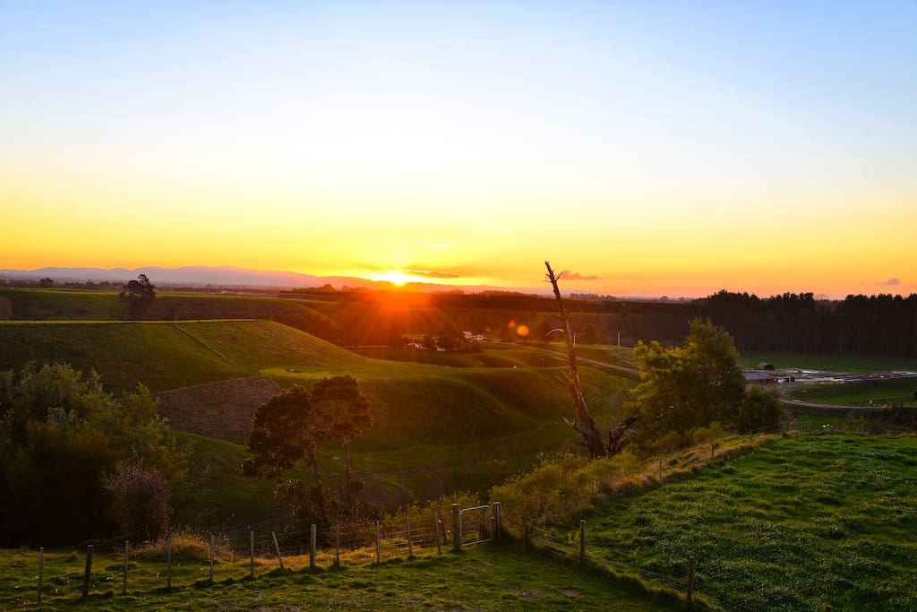 Sunset looking over farmland and out in the distance Mount Maunganui