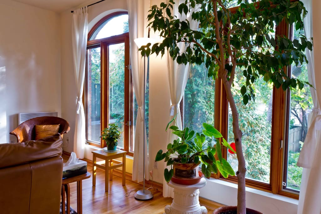 living room with view on backyard & garden