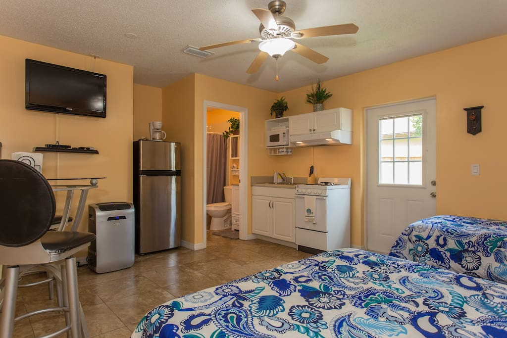stainless steel appliances and a full mini kitchen for your convenience!