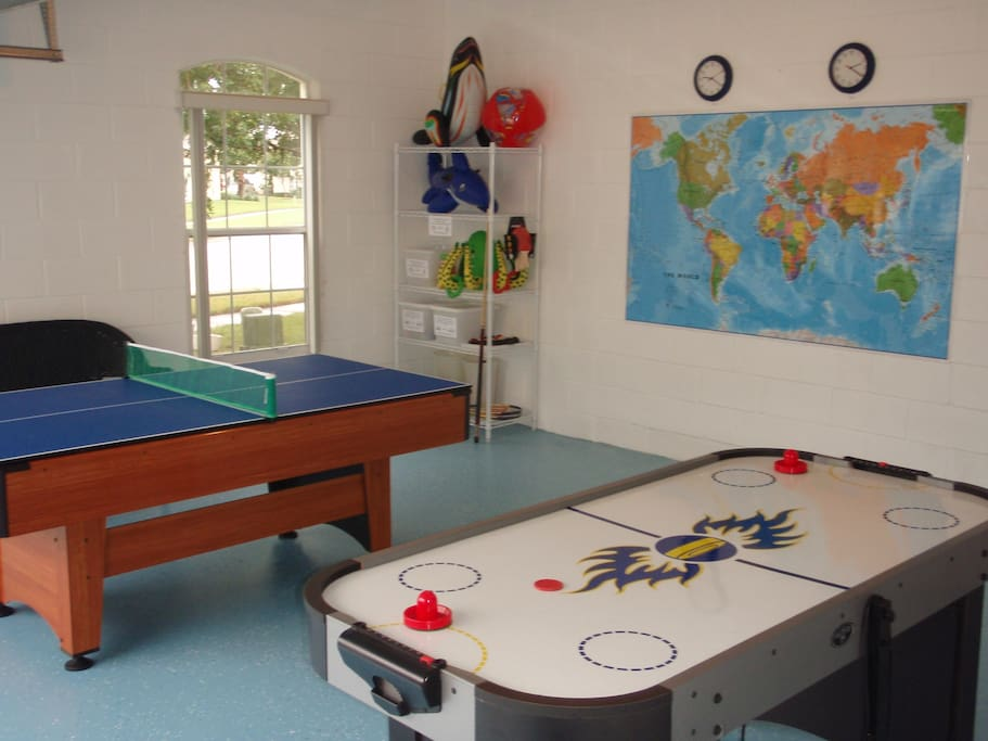 Challenge the family to a game of pool, table tennis or air hockey in the games room