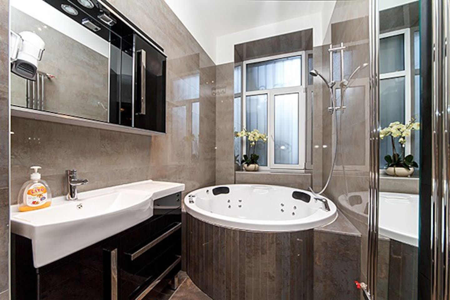 Spacious well designed bathroom with jacuzzi, big wash basin and toilet.