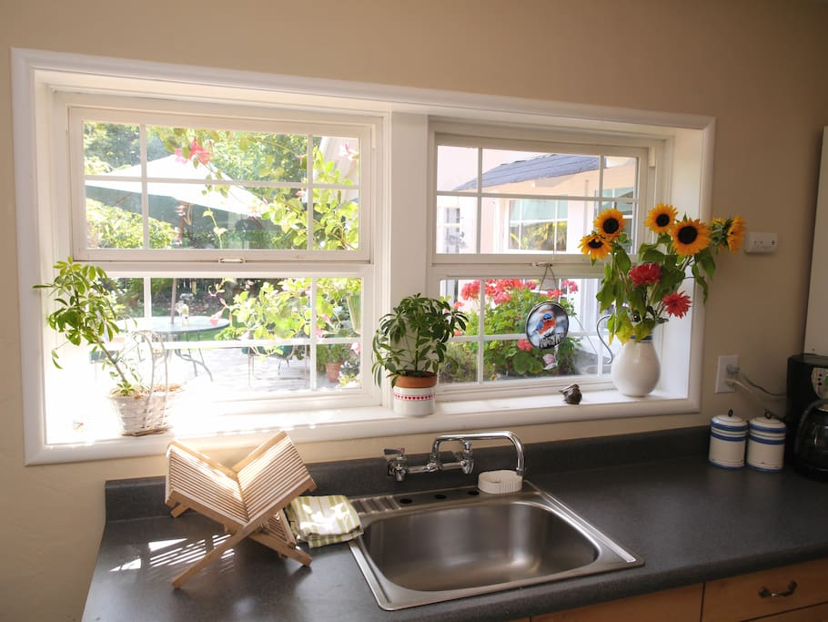Kitchenette looks on to deck.  Microwave, refrigerator and other cooking appiances available