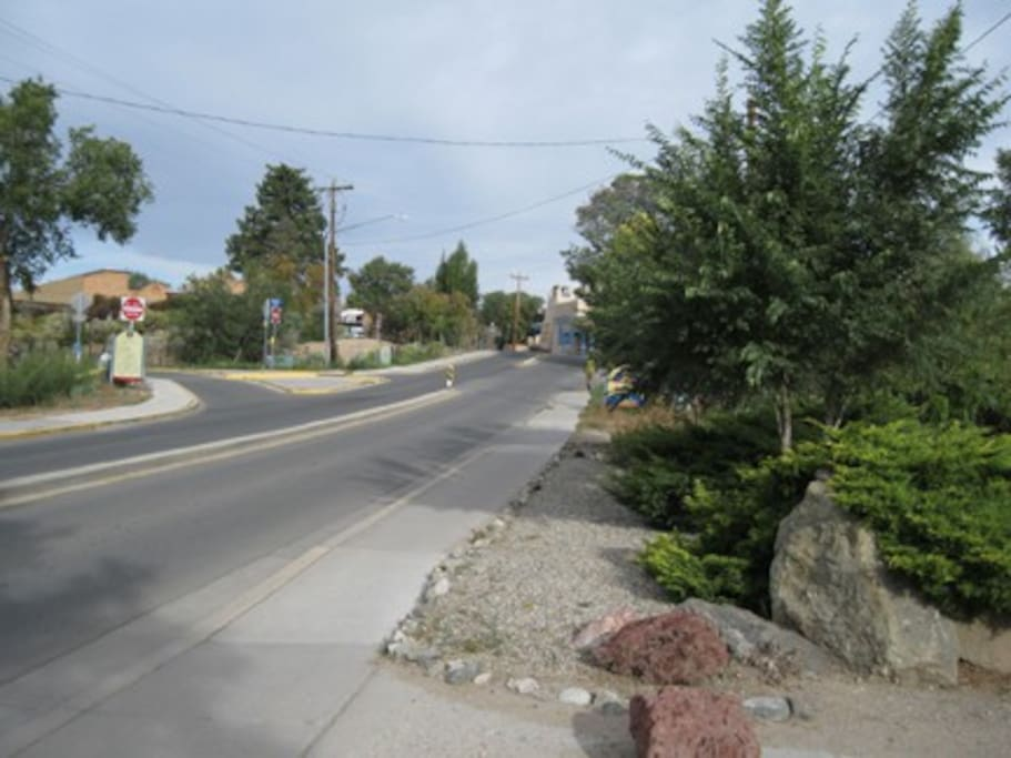 View up Kit Carson Road, toward the Plaza, from the front of the Parking Lot