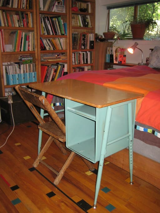 New!!!!! Vintage school desk to match the reclaimed floor...from an old Seattle school gymnasium!