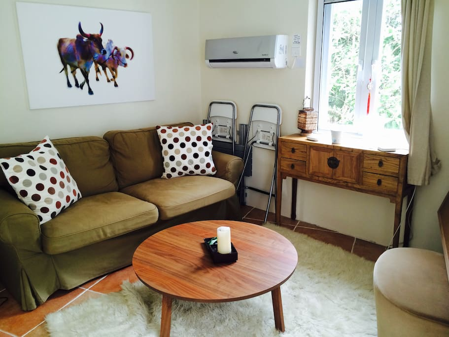 The cowshed living area with double pull out couch bed