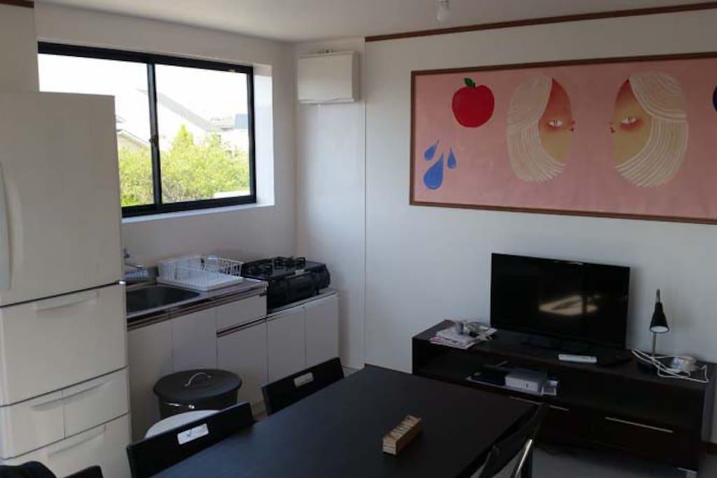 community room with 2 kitchens, fridge, microwave,TV, wifi