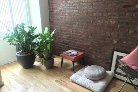 Sunny Soho Exposed Brick Loft 1st Flr Brownstone - New York - Apartment
