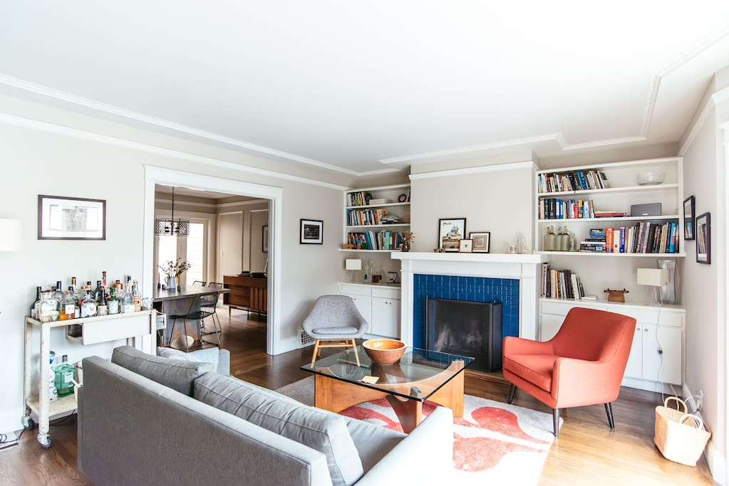 The living room is perfect for reading or enjoying a cocktail with friends