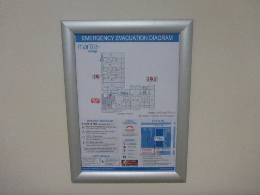 safety card and evacuation procedures