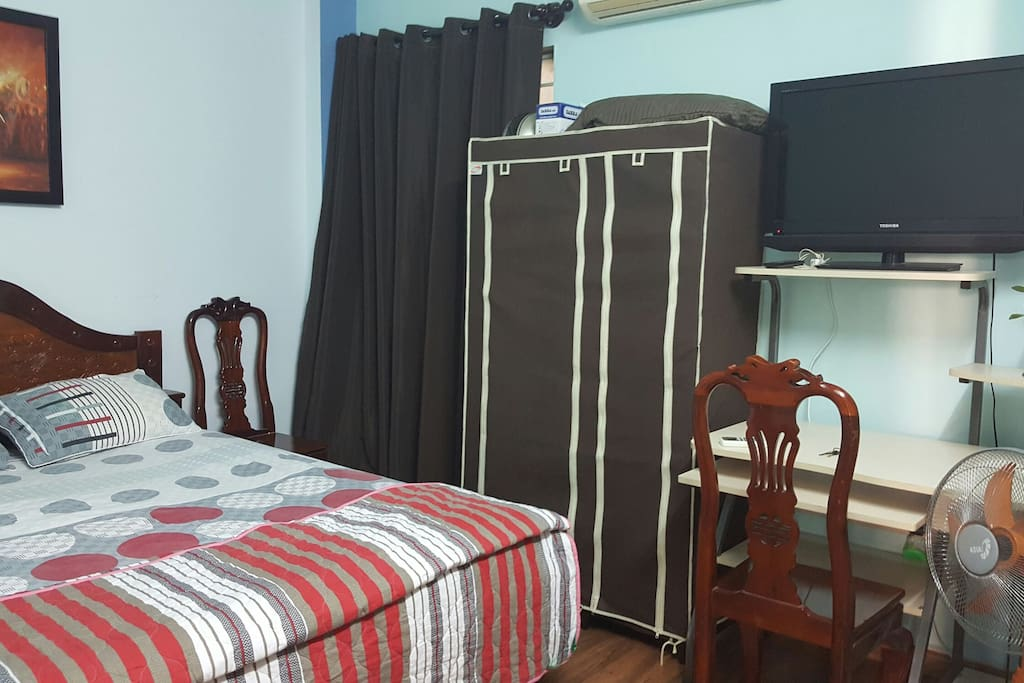 Your room{closet, working desk, LCD TV, Fan, Air-conditioned, window }