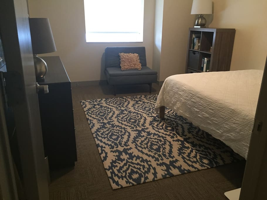 Your bedroom with queen-sized memory foam mattress, and walk-in closet