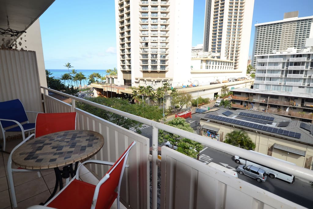 Balcony view with outside seating area