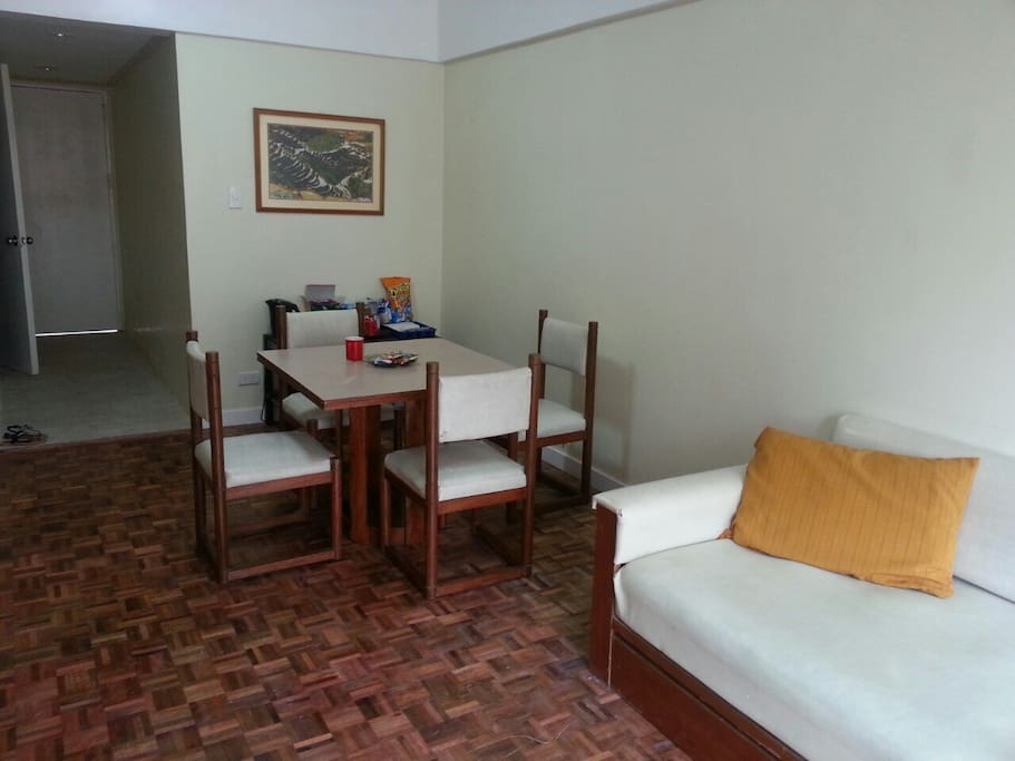 Spacious living and dining room; includes sofa bed