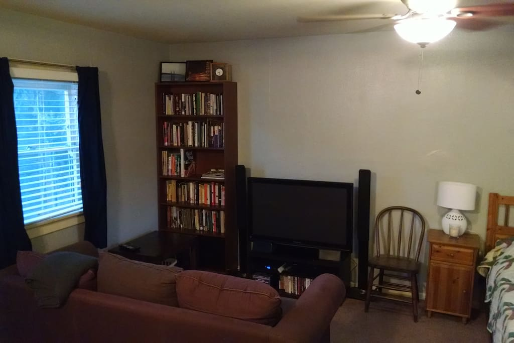 Large TV with cable channels, books for your pleasure.  Property has very fast WiFi.