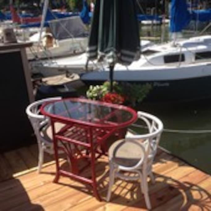 Your own personal dining space on the deck beside my boat