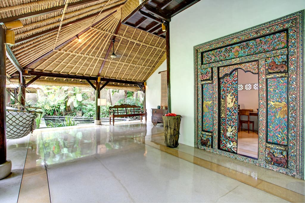 Authentic Bali entrance door to the library from the living area