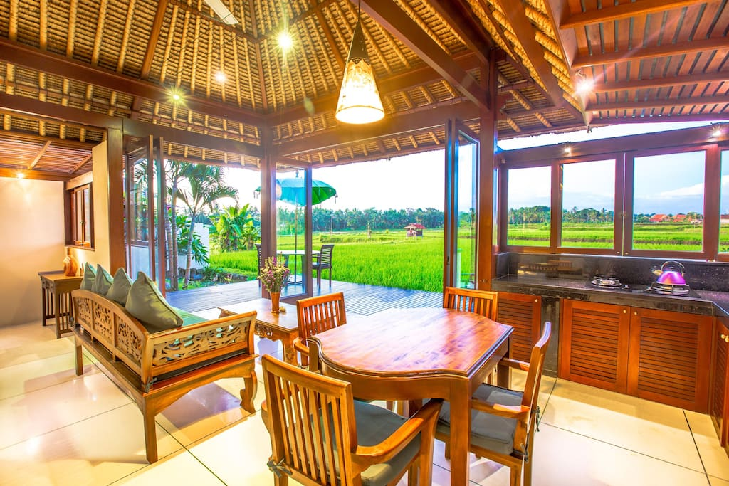The views from your private villa on the rice fields