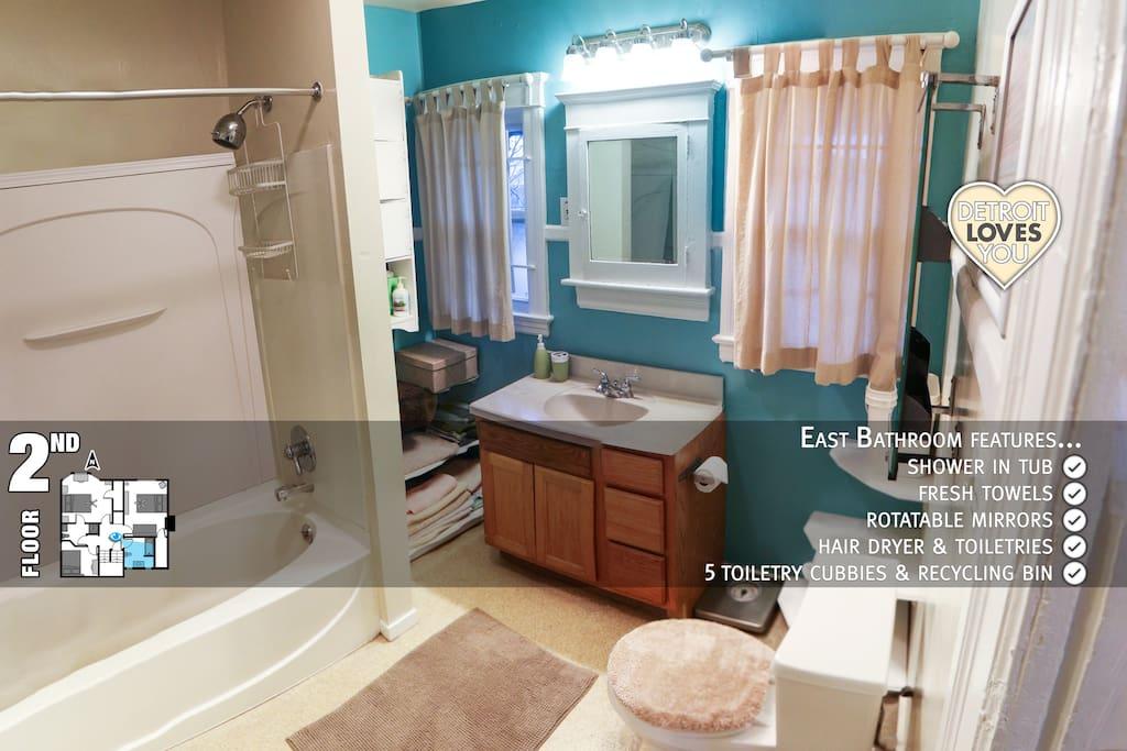 East Bath ~ 2nd floor ~ shower tub ~ toiletry cubbies ~ largest bathroom