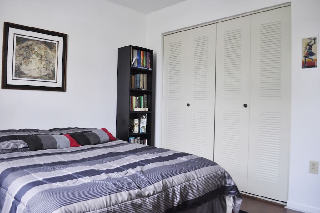 Full closet and cozily furnished