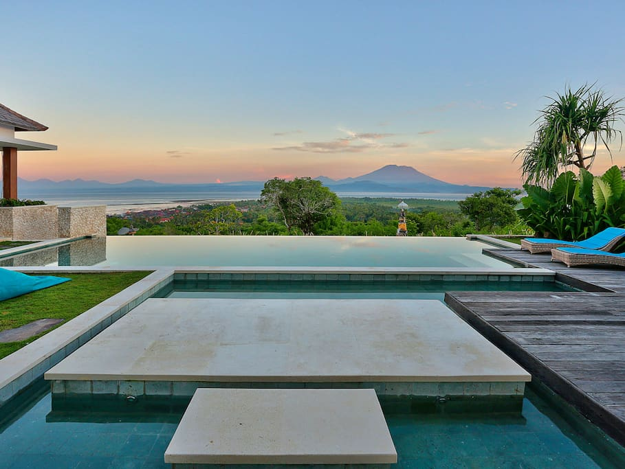 Spectacular Views Across The Infinity Pool To Bali From 353°N's Walkway