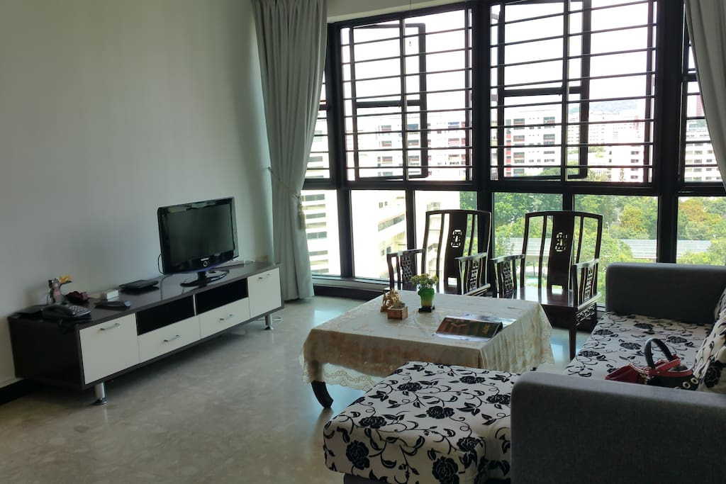 Spacious living room with Television and free local phone