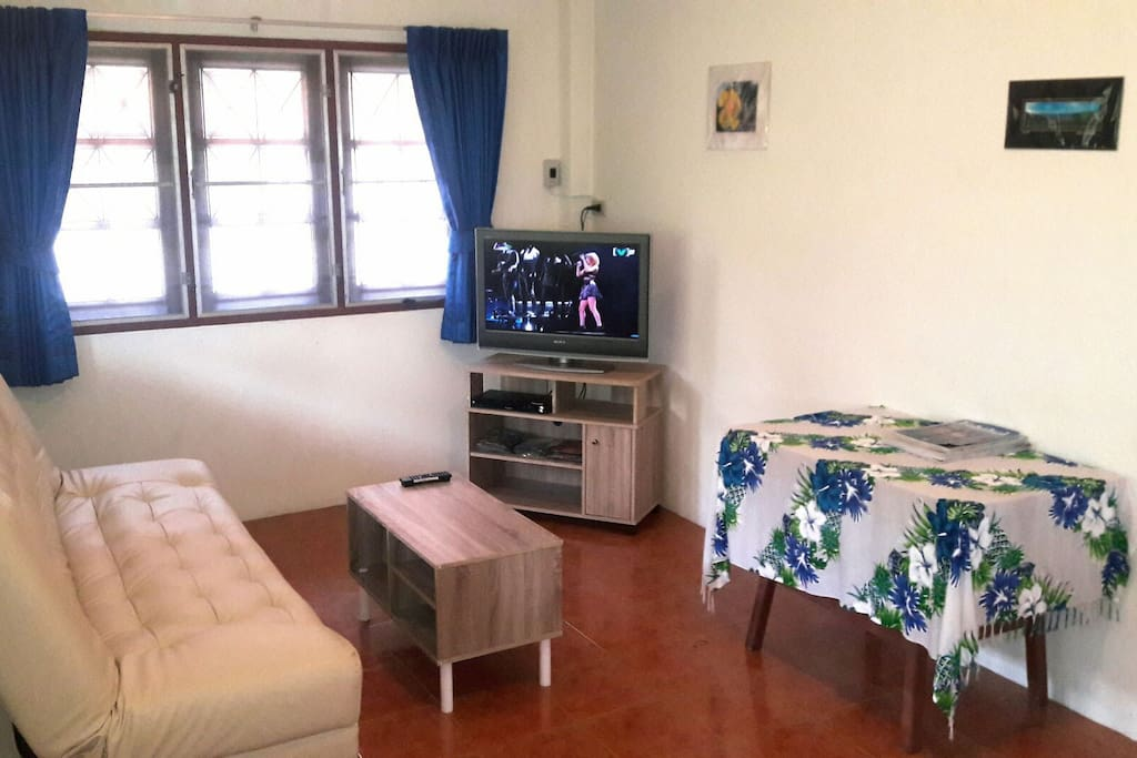The main room of the house includes a large flat screen TV with cable,  DVD/CD player, new curtains with blackout backing for the utmost in privacy.