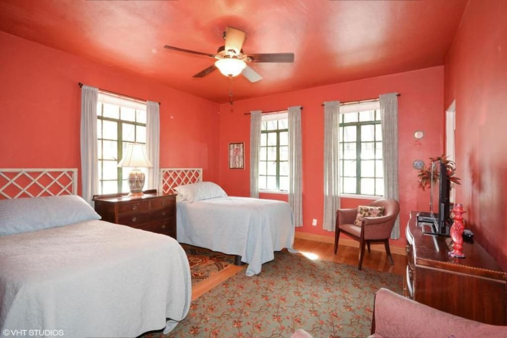The Rasberry Room. This room has two twin beds, cable TV, spacious closet space. Private bath for this room.