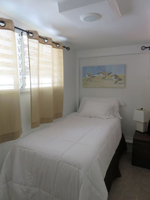 Back room has a twin bed to rest, relax or avoid a noisy sleep-mate.