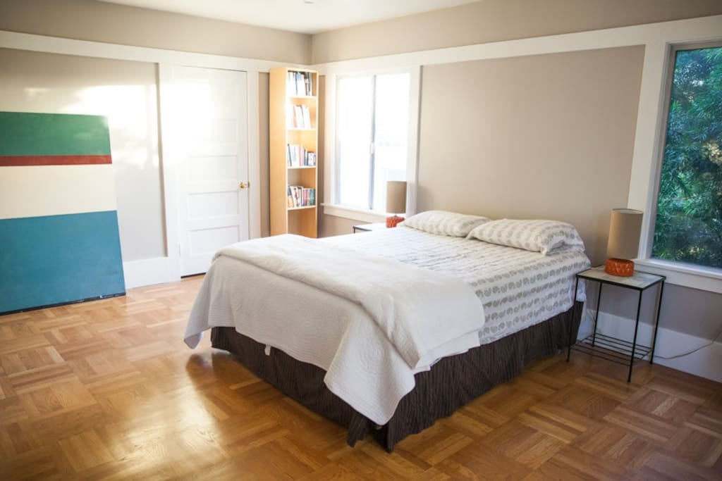 Beautiful and spacious master bedroom.  Has a queen size bed, a private closet, and its own entrance to the bathroom.