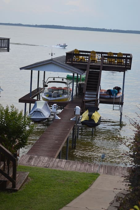 Dock with party deck on top